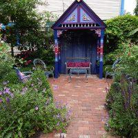 A colorful garden gazebo